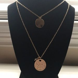 GOLD-TONE CLASSIC LAYERED CIRCLE PENDANT NECKLACE